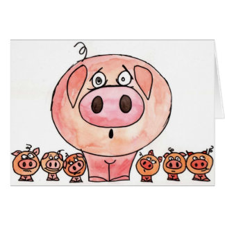 Six Little Pigs Greeting Card