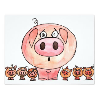 Six Little Pigs 11 Cm X 14 Cm Invitation Card