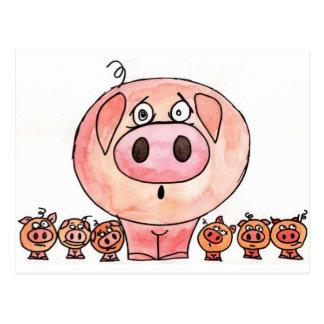 Six Little Pigs Post Card