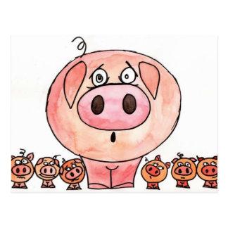 Six little pigs postcard