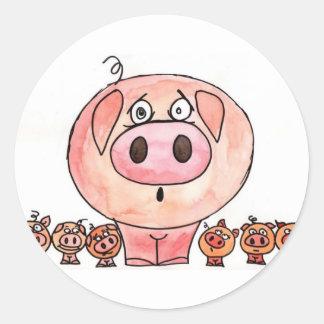 Six Little Pigs Round Sticker