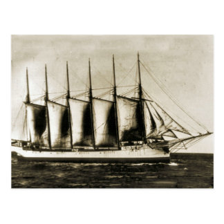 Six masted wooden ship postcard