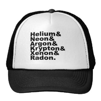 Six Noble Gases on the Periodic Table of Elements Hat