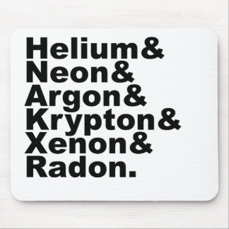 Six Noble Gases on the Periodic Table of Elements Mouse Pad