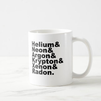 Six Noble Gases on the Periodic Table of Elements Mugs