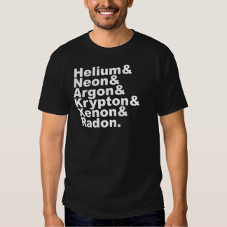 Six Noble Gases on the Periodic Table of Elements T Shirts