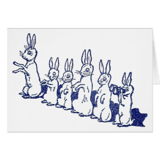 Six Rabbits Sit Up and Clap Their Paws Card