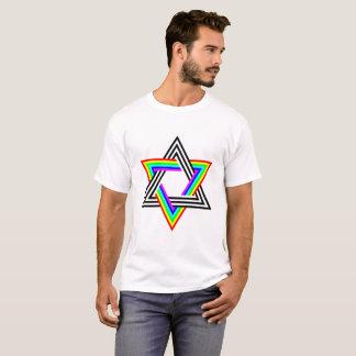 Six Stripe Hexagram Black White and Rainbow T-Shirt