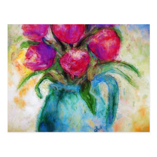 Six Tulips in Blue Vase, Flower art, Postcard