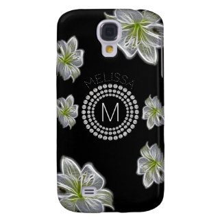 Six White Flowers with Diamonds and Your Name Galaxy S4 Case