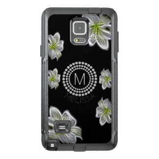Six White Flowers with Diamonds and Your Name OtterBox Samsung Note 4 Case