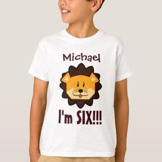 Six Years 6th Birthday Cute Lion Face V031N T-Shirt
