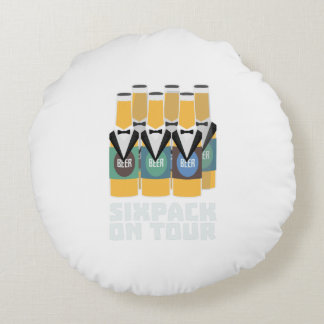 Sixpack Beer on Tour Zn1pu Round Cushion