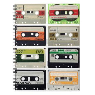 Sixteen Audio Cassettes Spiral Notebook