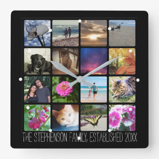 Sixteen Rounded Corners Photo Collage or Instagram Clock
