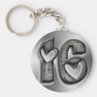 Sixteen Rustic Silver Grey Number 16 Typography Key Ring