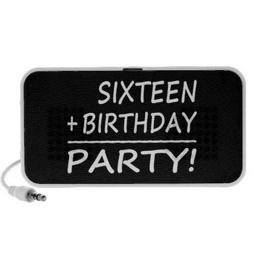 Sixteenth Birthdays : Sixteen + Birthday = Party iPod Speakers