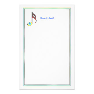 Sixteenth Music Note Custom Stationery