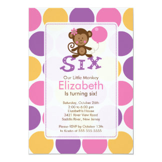 Sixth Birthday Little Monkey Birthday Invitation 6