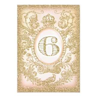 Sixth Birthday Once Upon a Time Princess 5x7 Paper Invitation Card