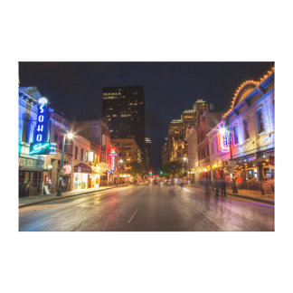 Sixth Street At Dusk In Downtown Austin, Texas Gallery Wrapped Canvas