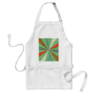 Sixties 5 Colors Swirl On Grass Green Background Apron
