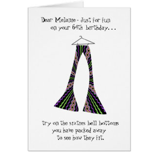 Sixties Bell Bottoms Funny 64th Birthday Greeting Card