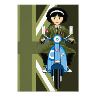 Sixties Mod Girl in Parka with Scooter Personalized Invitations