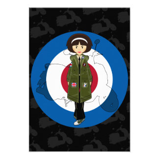 Sixties Mod Girl in Parka with Scooter RSVP Card Custom Announcements
