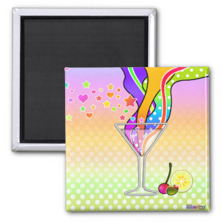 SIXTIES POP ART STYLE MARTINI SQUARE MAGNET