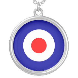 c91c257c522b Sixties scooter mod target art silver plated necklace