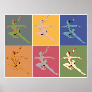 Sixties style popart ice ballerina x 6 poster