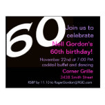 Sixtieth Birthday Party Postcard Invitation 60th