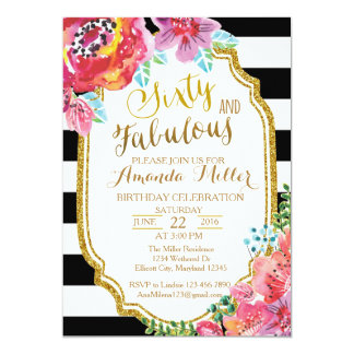 Sixty and Fabulous watercolor Birthday Invitation