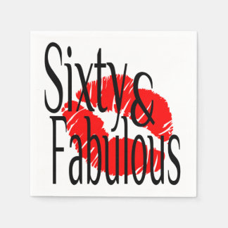 Sixty and Fabulous with Hot Red Lips Disposable Napkin