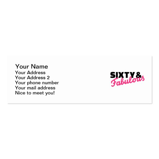 Sixty & fabulous birthday business card template