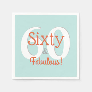 Sixty & Fabulous Happy 60th Birthday Teal & Orange Paper Napkin