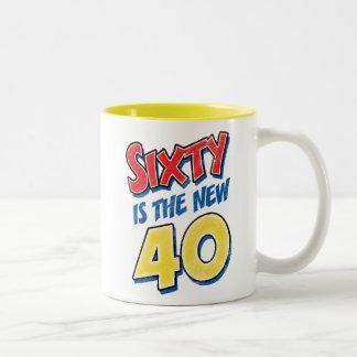 Sixty Is The New 40 Birthday Two-Tone Mug