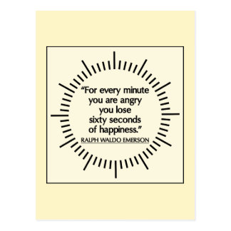 'Sixty seconds of Happiness' Emerson quote magnet Postcard