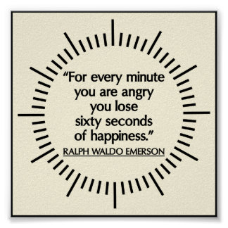 'Sixty seconds of Happiness' Emerson quote poster