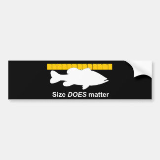 """Size Does Matter"" - Funny bass fishing Car Bumper Sticker"