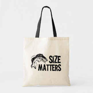 Size Matters! Funny Fishing Design Budget Tote Bag