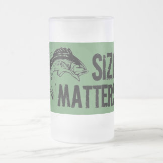 Size Matters! Funny Fishing Design Frosted Glass Beer Mug