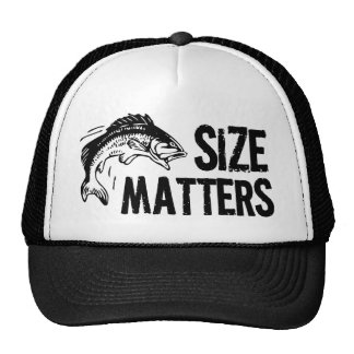 Size Matters Funny Fishing Design Mesh Hats