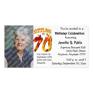 Sizzling At 70 Birthday Party Photo Invitation Custom Photo Card
