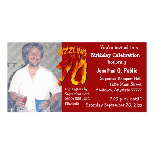 Sizzling At 70 Birthday Party Photo Invitation Picture Card