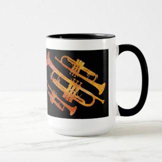 Sizzling Orange and Black Trumpet Wrap Mug