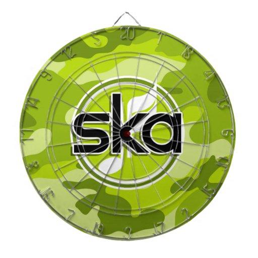Ska; bright green camo, camouflage dart boards