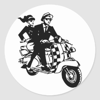 Ska Couple on Scooter pack of 6 20 Stickers