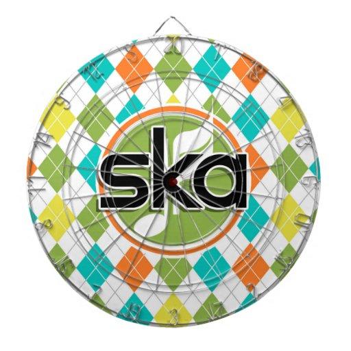 Ska Music; Colorful Argyle Pattern Dartboards